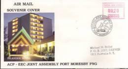 Lettre Frama Rencontre ACP-EEC De PAPOUASIE (Groupe Des Etats D´Afrique Des Caraïbes Et Du Pacifique ) Avec CEE - Vignettes ATM - Frama