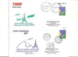 A 340 AIR FRANCE/TAM 1° Mise En Ligne Sur RIO Et SAO PAULO Aller Et Retour 08/06/97 Tirage Limité 67 - Eerste Vluchten