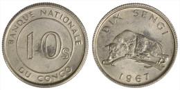 CONGO 10 SENGI 1967 (LEOPARDO/LEOPARD) §556 - Congo (Rép. Démocratique, 1964-70)