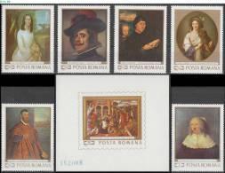 ROMANIA, 1969, Painting, Tattarescu, Velazquez, Memling, Lebrun, Rembrandt, MNH (**), Sc/Mi 2103-10/2796-01, Bl-73 - Ungebraucht