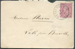 N°46 - 10 Centimes Carmin S/gris, Obl. Sc HEYST-SUR-MER S/Enveloppe Du 9 Août 1890 Vers Loth.  TB Frappe - 8519 - 1884-1891 Léopold II