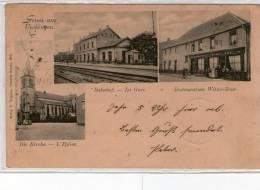 57 UCKANGE   --  E. GREGOIRE  --  L´église La Gare Restauration Witwe Bour - Autres Communes