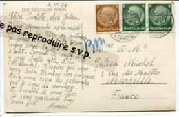 - 3 Beaux Timbres Sur CPSM, 1937,  DER DEUTSCHE RHEIN, To Marseille, TBE,  Rudesheim A Rh, Scans. - Deutschland