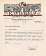 Rechnung E. Winkels 1951, Karlsruhe-Durlach Baden, Griesbacher Mineralwasser - Lebensmittel