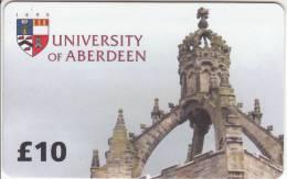 SCOTLAND - University Of Aberdeen, Student Telephone Service Prepaid Card 10 Pounds, Used - Télécartes