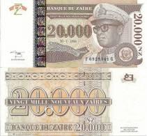 Zaire P-72a, 20,000 Nouveaux Zaires, Mobutu / Leopard $7CV!  HOLOGRAM - Zaïre