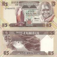 Zambia P-25d, 5 Kwacha, Fish Eagle / Kariba Dam $5CV Look At UV Image - Zambia