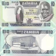 Zambia P-26e, 10 Kwacha, Kaunda And Fish Eagle / Bank Building $6CV - Zambia