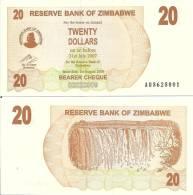 Zimbabwe P-40, 20 Dollars, Victoria Falls, 2007, $4CV! - Simbabwe
