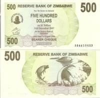 Zimbabwe P-43, 500 Dollars, Tiger Fish & Kariba Dam On Zambezi River $5 CV! - Zimbabwe