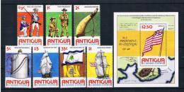 Antigua 1976 200 Jahre USA Mi.Nr. 417/23 Kpl. Satz + Block 24 ** - Antigua Und Barbuda (1981-...)