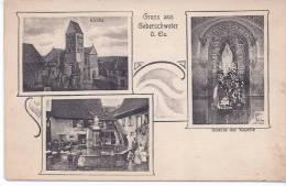 RARE CPA 68 HAUT RHIN GUEBERSCHWIHR (France) GEBERSCHWEIER ( Allemagne ) MULTIVUES ANIMEES 1919 - France