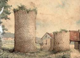 02 - FERE EN TARDENOIS - TRES BELLE AQUARELLE DE LA TOUR DU CHATEAU DE NESLES- G. DUPONT - Watercolours