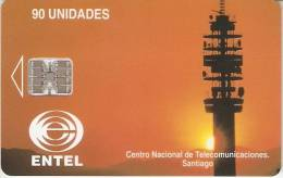 TARJETA DE CHILE DE CENTRO NACIONAL DE SANTIAGO-  ANTENA TELECOMUNICACIONES - Chile