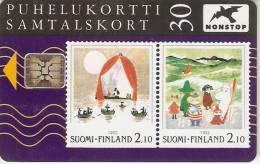 TARJETA DE FINLANDIA CON UNOS SELLOS TIRADA 50000  (STAMP-SELLO) - Finlandia
