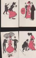Lot De 10 CPA:Art Nouveau:Liner:Elégants Et élégantes:Dos Simple - Illustrateurs & Photographes