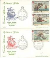 2 FDC Ordine De Malta Sovrano Militar 3/10/1977 Antiche Battaglie Della Marineria Dell'Ordine - Malte (Ordre De)