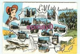 Br - 03 - ALLIER - Carte Géographique - Multivues - Touristique - édit. Combier - - France