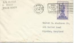 1937. MARITINE  COVER, S.S ALAMAR  213861 STEAM CREW . WITH   HAWAII 3c STAMP - United States