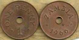 ZAMBIA 1 PENNY INSCRIPTION FRONT & BACK 1966 KM1(?) EF READ DESCRIPTION CAREFULLY !!! - Zambie