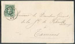 N°30 - 10 Centimes Vert Obl. Dc NAMECHE S/lettre Du 22 Avril 1873 Vers Tamines;  Belle Fraîcheur. - 8451 - 1869-1883 Léopold II