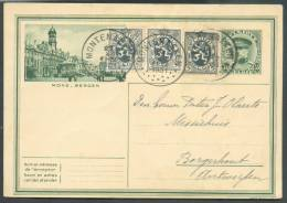 E.P. Carte 35 Centimes Képi (illustrée MONS) + Affracnhissement Complémentaire De 15 Centimes (3x5 Centimes Lion) Obl; S - Ganzsachen