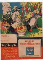 02 -  LAON - TRES BEAU PROTEGE CAHIER PUBLICITAIRE- HUILE DES TROIS MERLETTES - HUILERIE - Food