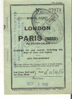 Single Ticket From London To Paris  Via Dover-Calais   Oct. 9, 1948 - Tickets - Vouchers