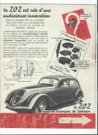 Automobile/Peugeot/Document Publicitaire/ Berline 202/ La 202 Nouveau Triomphe De Sochaux/1937     VP543 - Cars