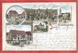 68 - GRUSS Aus NIEDERHAGENTHAL - HAGENTHAL Le BAS - Litho Couleur - Gasthof GÖTSCHEL - Judaica - 3 Scans - Frankrijk