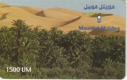 TARJETA DE MAURITANIA DE 1500 UM (MATTEL) PAISAJE DESIERTO FECHA 01/06/2002 - Mauritania