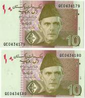 A Lot Of 2 Pcs Pakistan 10 Rupees New Banknote 2011 Signature Is Shahid Kardar. - Pakistan