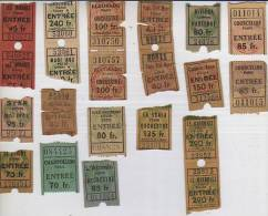 TICKETS ENTRADAS PARA DIFERENTES EVENTOS  CINE TEATRO DISTINTOS LUGARES  PARIS  FRANCIA  FRANCE  LOTE  AÑO 1950  OHL - Tickets D'entrée