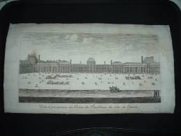 BELLE GRAVURE XVIIe XVIIIe VUE DU PALAIS DES TUILERIES - Gravures