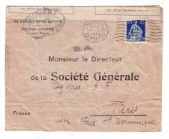 Suisse Lausanne Ouvert Par L'Autorité Militaire Censure 1916 Société Générale Banque Paris - Suisse