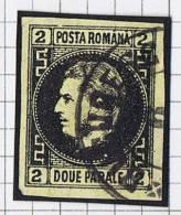 Romania: 1866   Mi Nr 14 Y Thin Paper Used, Signed, Signé, Very Nice Borders And Cancel. - 1858-1880 Moldavië & Prinsdom