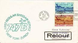 UNIDET CHILE SANTIAGO - NEW YORK, First Regular Swissair - Deutschland - Zürich - New York - Zürich - Retour - Chile