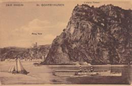 Der Rhein, Sailboat, Burg Katz, L Oreley Felsen, St. Goarshausen (Rhineland-Palatinate), Germany, 1900-1910s - St. Goar