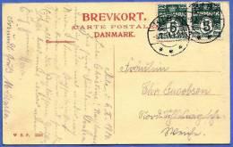 DÄNEMARK 1914, Zusammenhängende 2 Fach Frankierung Auf Ak - Ribe - Domkirke, Hovedindgangen - Briefe U. Dokumente