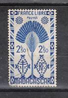 Madagascar   -   1943.   France Libre  2,5 Fr. - Non Classificati