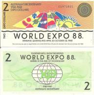 Test Note - ABNC-111 2 Australian Expo Dollars, 1988 - Specimen