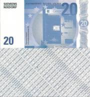 Test Note - SNIX-1623, 20 Euro, Siemens Nixdorf, Euro Stars / ATM - [17] Vals & Specimens