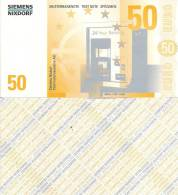Test Note - SNIX-1624, 50 Euro, Siemens Nixdorf, Euro Stars / ATM - [17] Vals & Specimens