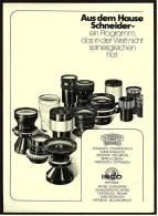 Reklame Werbeanzeige 1974 ,   Schneider Optik  -  Objektive - Photographica