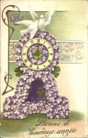 Art Nouveau - Bonne Et Heureuse Année - Pendule En Violette - Colombes - Nouvel An