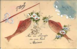 Carte En Rodoïde - Poissons D'avril - Je Les Ai Chargés De Mes Bons Baisers - Peint Main - Altri