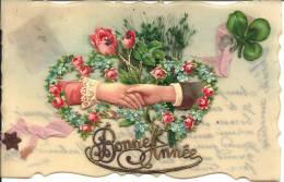 Carte En Rodoïde - Bonne Année - Chromo Mains Et Fleurs - Cartoline