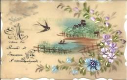 Carte En Rodoïde - Voeux De Bonne Fête - Peint Main - Altri