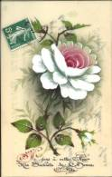 Carte En Rodoïde - Voeux De Bonne Fête - Peint Main - Cartoline