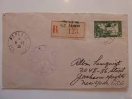 POSTE AERIENNE SEUL SUR LETTRE RECOMMANDEE DE PAPEETE TAHITI 1939 => USA ET CENSUREE  FRENCH COLONIE COVER